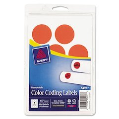 "Printable Removable Color-Coding Labels, 1 1/4"" dia, Neon Red, 400/Pack"