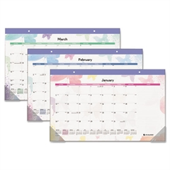 AT-A-GLANCE Watercolors Recycled Monthly Desk Pad Calendar, 17 3/4 x 10 7/8, 2017