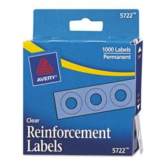 "Avery Dispenser Pack Hole Reinforcements, 1/4"" Dia, Clear, 1000/Pack"
