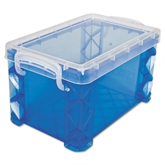 Advantus Super Stacker Storage Boxes, Hold 400 3 x 5 Cards, Plastic, Blue