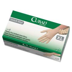 Curad Stretch Vinyl Exam Gloves, Powder-Free, X-Large, 130/Box