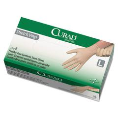 Curad Stretch Vinyl Exam Gloves, Powder-Free, Large, 150/Box