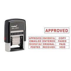 Trodat Self-Inking Stamps, 12-Message, Self-Inking, 1 1/4 x 3/8, Red