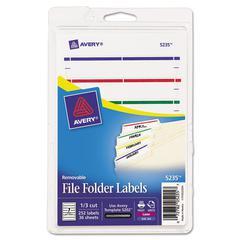 Removable 1/3-Cut File Folder Labels, Inkjet/Laser, .66 x 3.44, WE/ASST, 252/PK