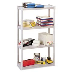 Rough N Ready Four-Shelf Open Storage System, Resin, 32w x 13d x 54h, Platinum