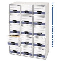 Bankers Box STOR/DRAWER Steel Plus Storage Box, Check Size, Wire, White/Blue, 12/Carton