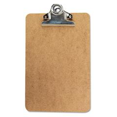 "Universal Hardboard Clipboard, 3/4"" Capacity, Holds 5w x 8h, Brown"