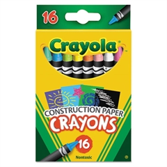 Construction Paper Crayons, Wax, 16/Pk