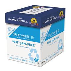 Great White Recycled Copy Paper, 92 Brightness, 20lb, 8-1/2 x 11, 2500 Shts/Ctn