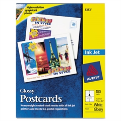 Avery Photo-Quality Glossy Postcards for Inkjet Printers, 4 1/4 x 5 1/2, White, 100/Pk