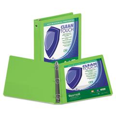 "Clean Touch Round Ring View Binder, Antimicrobial, 1"", Lime"
