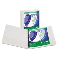 "Clean Touch Round Ring View Binder, Antimicrobial, 4"", White"
