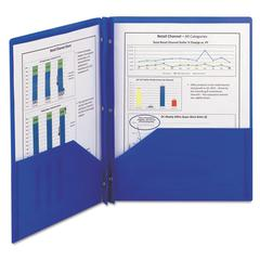 Poly Two-Pocket Folder w/Fasteners, 11 x 8 1/2, Blue, 25/Box
