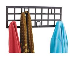 Safco Grid Coat Rack, Five Hooks, 21-1/2w x 2-1/4d x 6-3/4h, Black