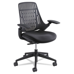 Thrill Series Task Chair, Plastic Back/Upholstered Seat, Black Seat/Back