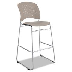 Rêve Series Bistro Chair, Molded Plastic Back/Seat, Steel Frame, Latte
