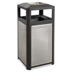 Safco Ashtray-Top Evos Series Steel Waste Container, 15gal, Black