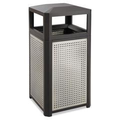 Evos Series Steel Waste Container, 15gal, Black
