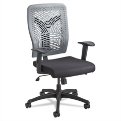 Safco Voice Series Task Chair, Plastic Back, Upholstered Seat, Black/Charcoal
