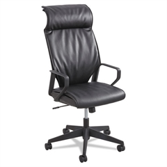 Priya Series Leather Executive High-Back Chair, Loop Arms, Black Back/Black Seat