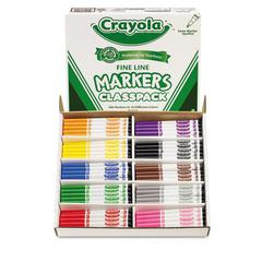 Non-Washable Classpack Markers, Fine Point, Ten Assorted Colors, 200/Box