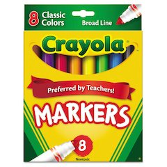 Crayola Non-Washable Markers, Broad Point, Classic Colors, 8/Set