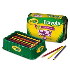 Colored Wood Pencil Trayola, 3.3 mm, 9 Assorted Colors, 54 Pencils/Set