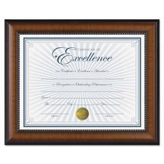 DAX Prestige Document Frame, Walnut/Black, Gold Accents, Certificate, 8 1/2 x 11
