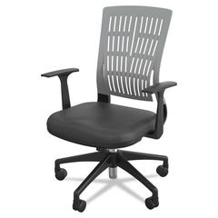 Mid-Back Fly Chair, 27w x 26-1/2d x 37-1/2 to 41h, Gray/Black