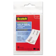 Scotch Self-Sealing Laminating Pouches, 9 mil, 3 4/5 x 2 2/5, Business Card Size, 10/Pa