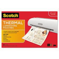 Scotch Menu Size Thermal Laminating Pouches, 3 mil, 17 1/2 x 11 1/2, 25 per Pack