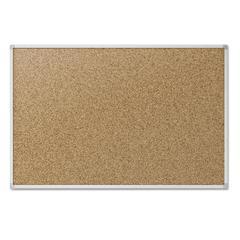Cork Bulletin Board, 48 x 36, Silver Aluminum Frame