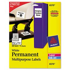 Avery Permanent ID Labels, Inkjet/Laser, 1 1/4 x 1 3/4, White, 480/Pack