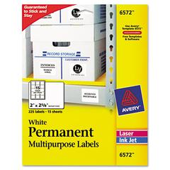 Avery Permanent ID Labels, Inkjet/Laser, 2 x 2 5/8, White, 225/Pack