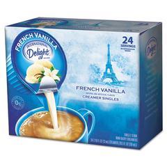 Flavored Liquid Non-Dairy Coffee Creamer, French Vanilla, 0.4375 oz Cup, 24/Box