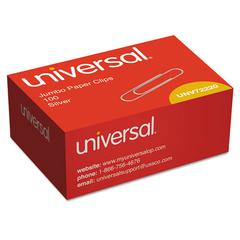 Universal Smooth Paper Clips, Wire, Jumbo, Silver, 100/Box