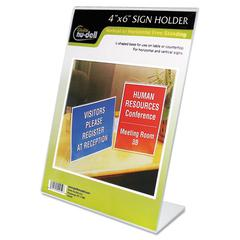 NuDell Clear Plastic Sign Holder, Desktop, 4 x 6