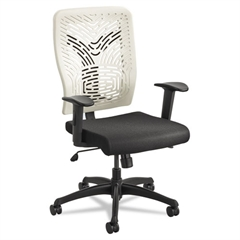 Safco Voice Series Task Chair, Plastic Back, Upholstered Seat, Black Seat/Latte Back