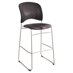 Safco Rêve Series Bistro Chair, Molded Plastic Back/Seat, Steel Frame, Black