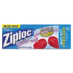 Ziploc Double Zipper Freezer Bags, 9 3/5 x 12 1/10, 1 gal, 2.7mil, 9/Carton