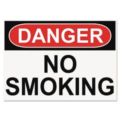 OSHA Safety Signs, DANGER NO SMOKING, White/Red/Black, 10 x 14