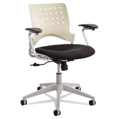 Rêve Series Task Chair, Square Plastic Back, Polyester Seat, Black Seat/Latte