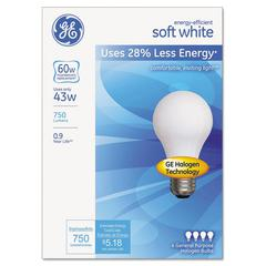 Halogen Bulb, Globe, 43 Watts, Soft White, 4/Pack