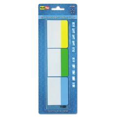 Redi-Tag Write-On Self-Stick Index Tabs, 1 1/2 x 2, Blue, Green, Yellow, 30/Pack