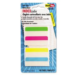 Redi-Tag Write-On Self-Stick Index Tabs, 2 x 11/16, 4 Colors, 48/Pack
