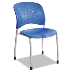 Safco Rêve Series Guest Chair W/ Straight Legs, Lapis Plastic, Silver Steel, 2/Carton