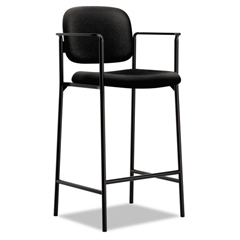 VL636 Series Café-Height Stool, 100% Polyester, Black Back/Seat, 2/Carton