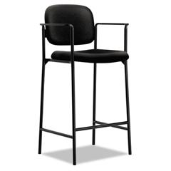 VL636 Series Café-Height Stool, 100% Polyester, Black Back/Seat, 2/Carton