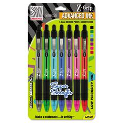 Zebra Z-Grip Neon Retractable Ballpoint Pen, 1.0 mm, Medium, Assorted, 7/Set