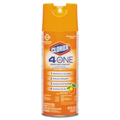 Clorox 4-in-One Disinfectant & Sanitizer, Citrus, 14oz Aerosol, 12/Carton